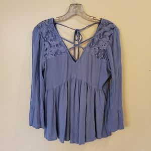 American Eagle Blue Lace V-Neck Peasant Blouse